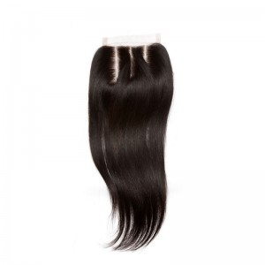 Three Part Lace Closure 4*4 Brazilian Virgin Hair Natural Black Color Straight Can be Dyed UU hair