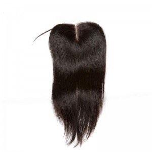 Middle Part Lace Closure 4*4 Brazilian Virgin Hair Natural Black Color Straight Can be Dyed UU hair