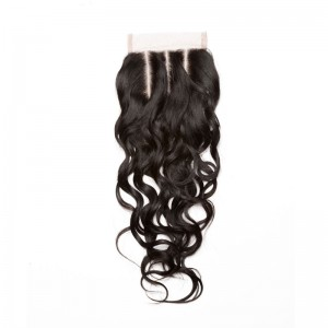 Indian Remy Hair Water Wet Wave Free Part Lace Closure 4x4inches Natural Color