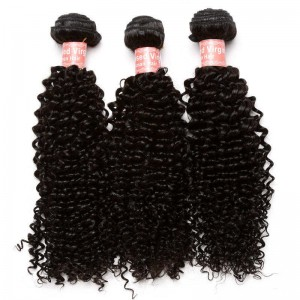 Indian Virgin Hair Kinky Curly Human Hair Weaves 3 Bundles Natural Color can be dyed and bleached