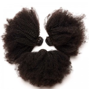 Indian Virgin Hair Afro Kinky Curly Human Hair Weaves 3 Bundles Natural Color can be dyed and bleached