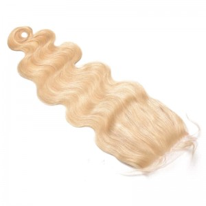 Lace Closure 4*4 Blond Color #613 Brazilian Virgin Hair Natural Black Color Body Wave Can be Dyed