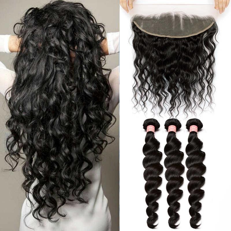 Brazilian Virgin Human Loose Wave Hair Extensions 3 Bundles With 1