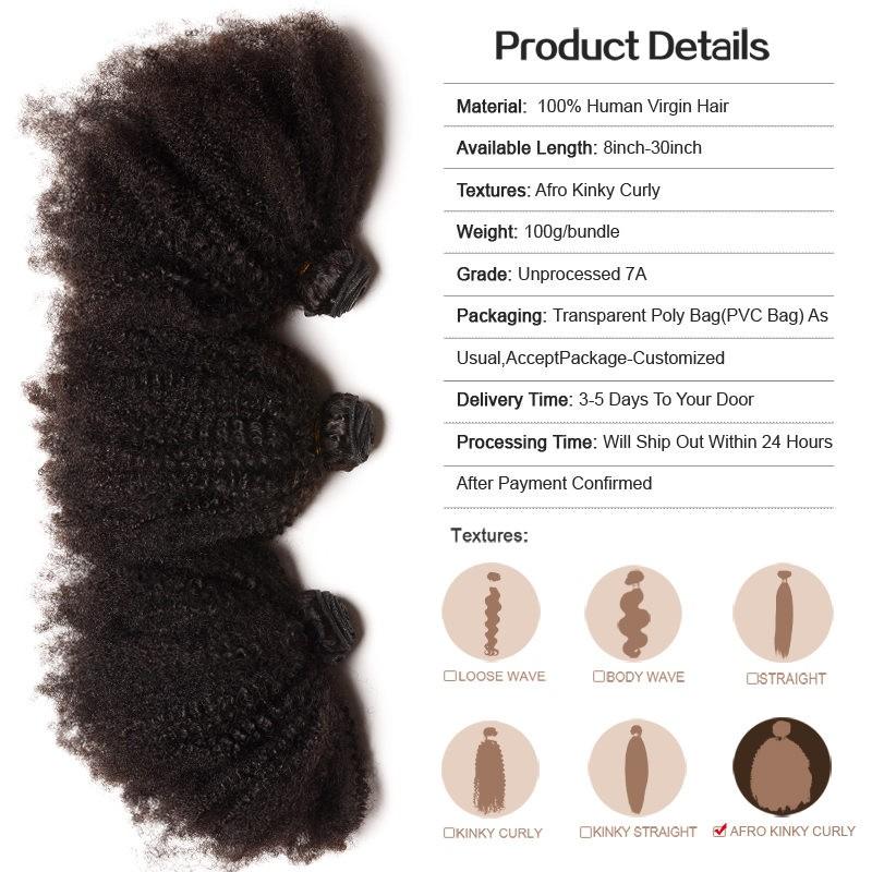 Mongolian Afro Kinky Curly Human Hair Weaves 4 5 Bundles Natural