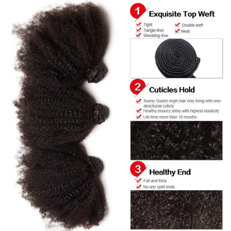 Indian Virgin Hair Afro Kinky Curly Human Hair Weaves 3 Bundles