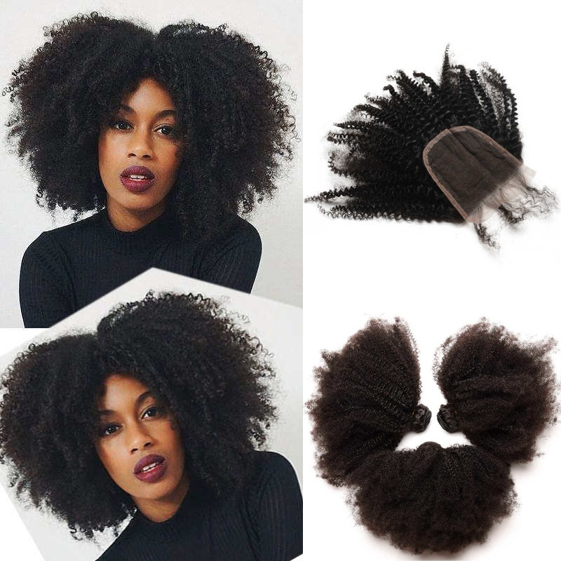 Brazilian Virgin Human Afro Kinky Curly Hair Extensions 3 Bundles