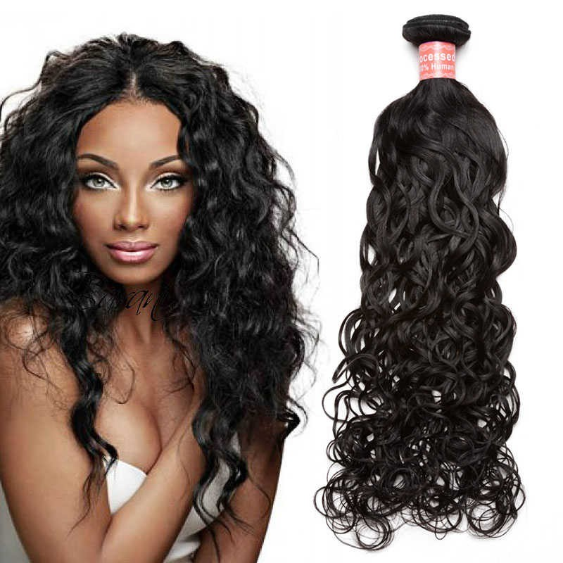Brazilian Virgin Hair Water Wave Human Hair Weaves 3 Bundles Natural
