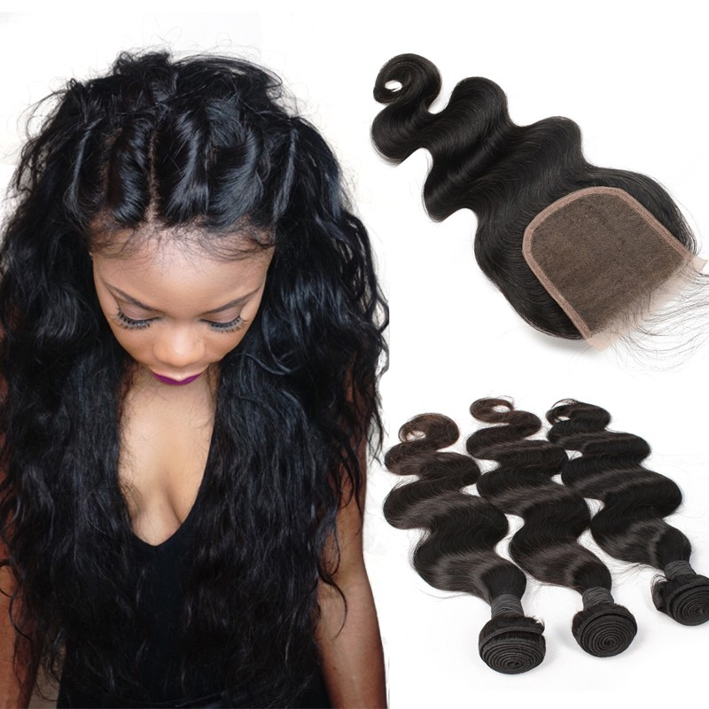 Brazilian Virgin Human Hair Extensions Weave 3 Bundles With 1
