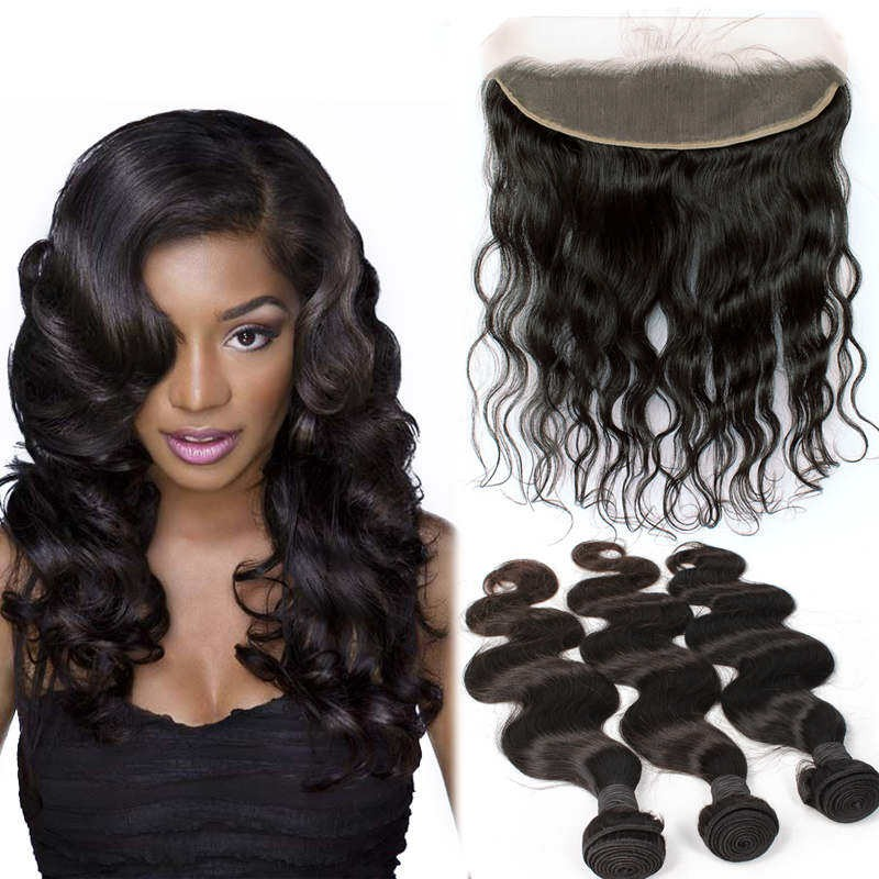 Brazilian Virgin Human Body Wave Hair Extensions 4 Bundles With 1