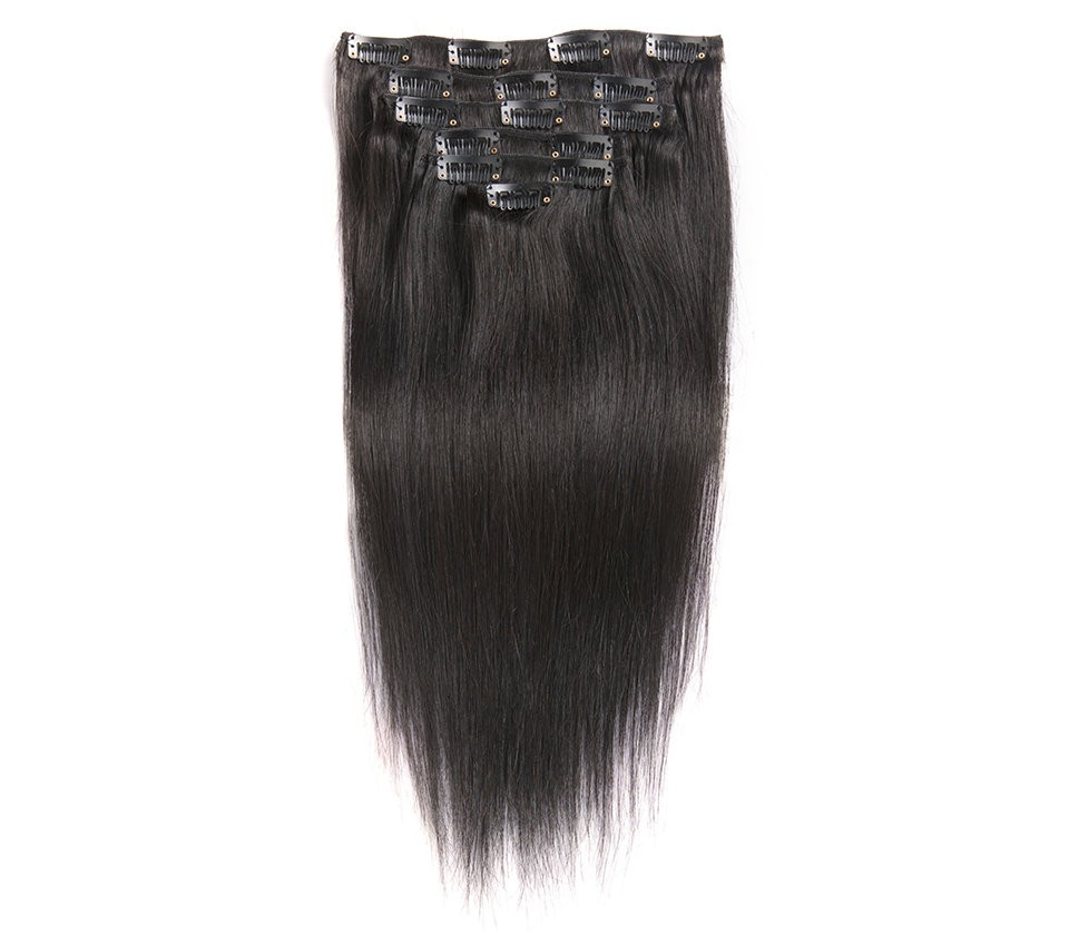 Natural Color Silky Straight Mongolian Virgin Hair Clip In Human