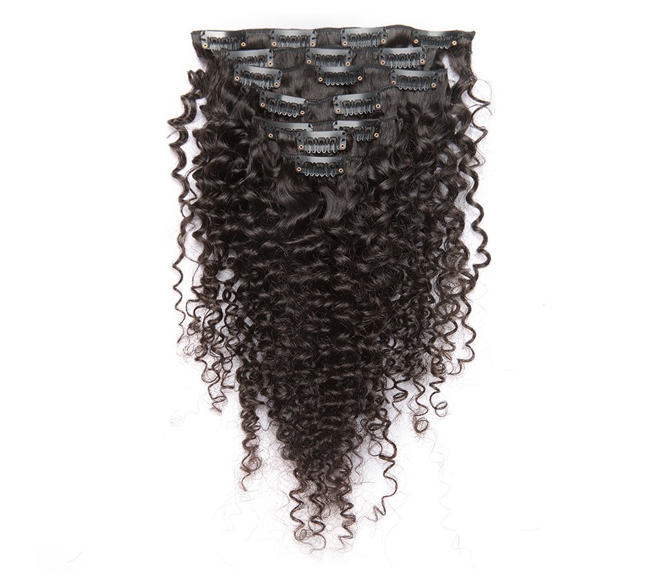 Kinky Curly Mongolian Virgin Hair Clip In Human Hair Extensions