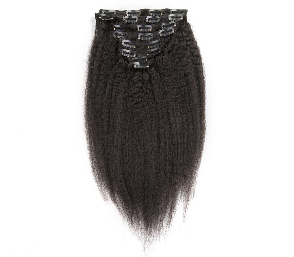 Kinky Straight Mongolian Virgin Hair Clip In Human Hair Extensions
