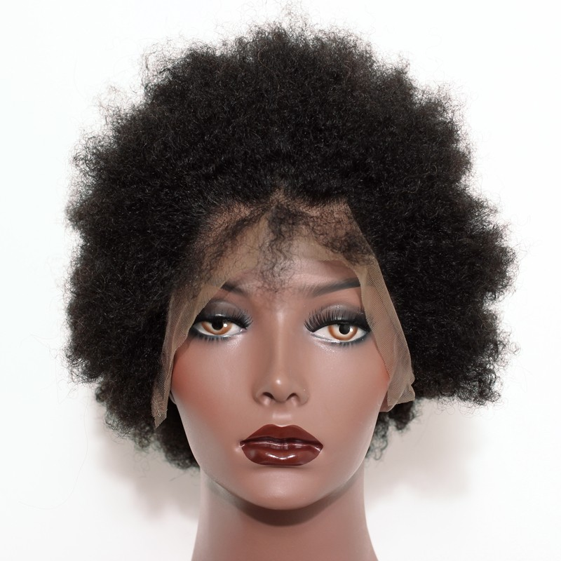 Full Lace Human Hair Wigs Short Afro Kinky Hair 100 Human Hair Full Lace Wigs