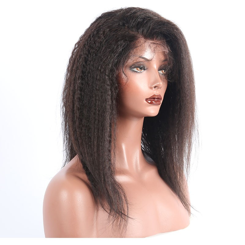 Lace Front Wigs Kinky Straight Brazilian Virgin Hair 14 inches 100% Human  Hair Lace Wigs c25934e1bf74