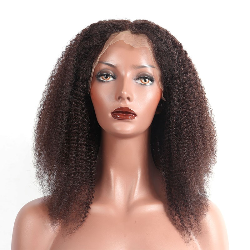 Brazilian Lace Wigs Afro Kinky Curly 14 Inch Full Lace Human Hair
