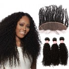 Brazilian Virgin Human Kinky Curly Wave Wave Hair Extensions 3 Bundles with 1 Frontal closure Natural Color Dyeable
