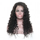 Pre-Plucked Natural Hair Line 360 Lace Wigs 150% Density Deep Wave Brazilian Human Hair Bleached Knots - UUHair