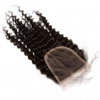 Lace Closure 4*4 Brazilian Virgin Hair Natural Black Color Kinky Curly Can be Dyed