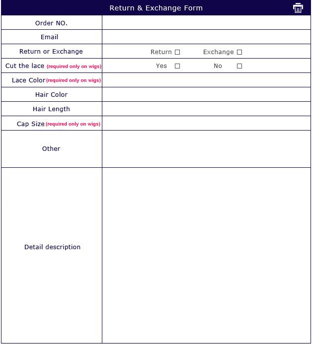 UUHair.com exchange and return order form.